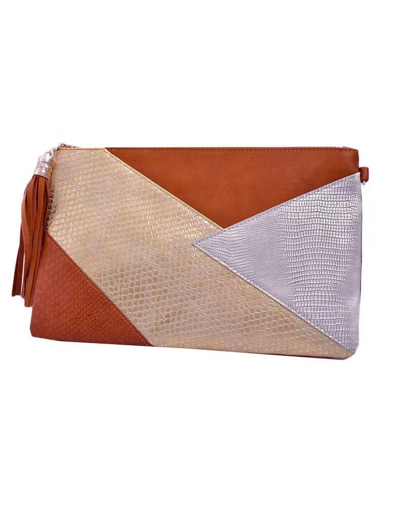 Bag-large panel snake skin clutch