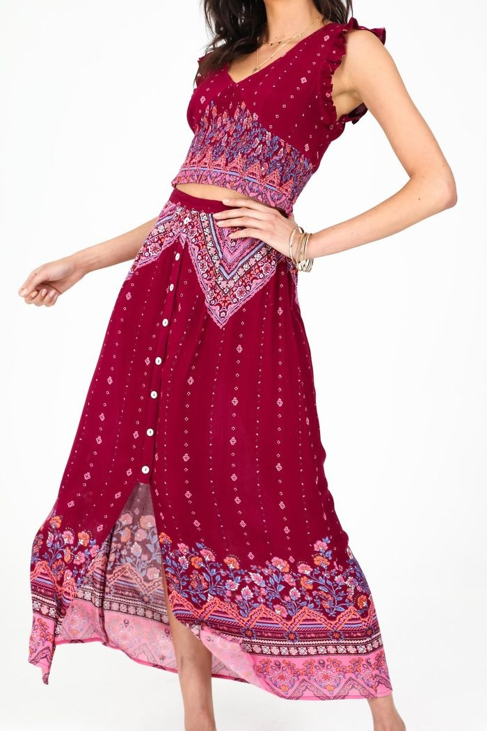 Patrons of Peace Orchid Paisley Maxi