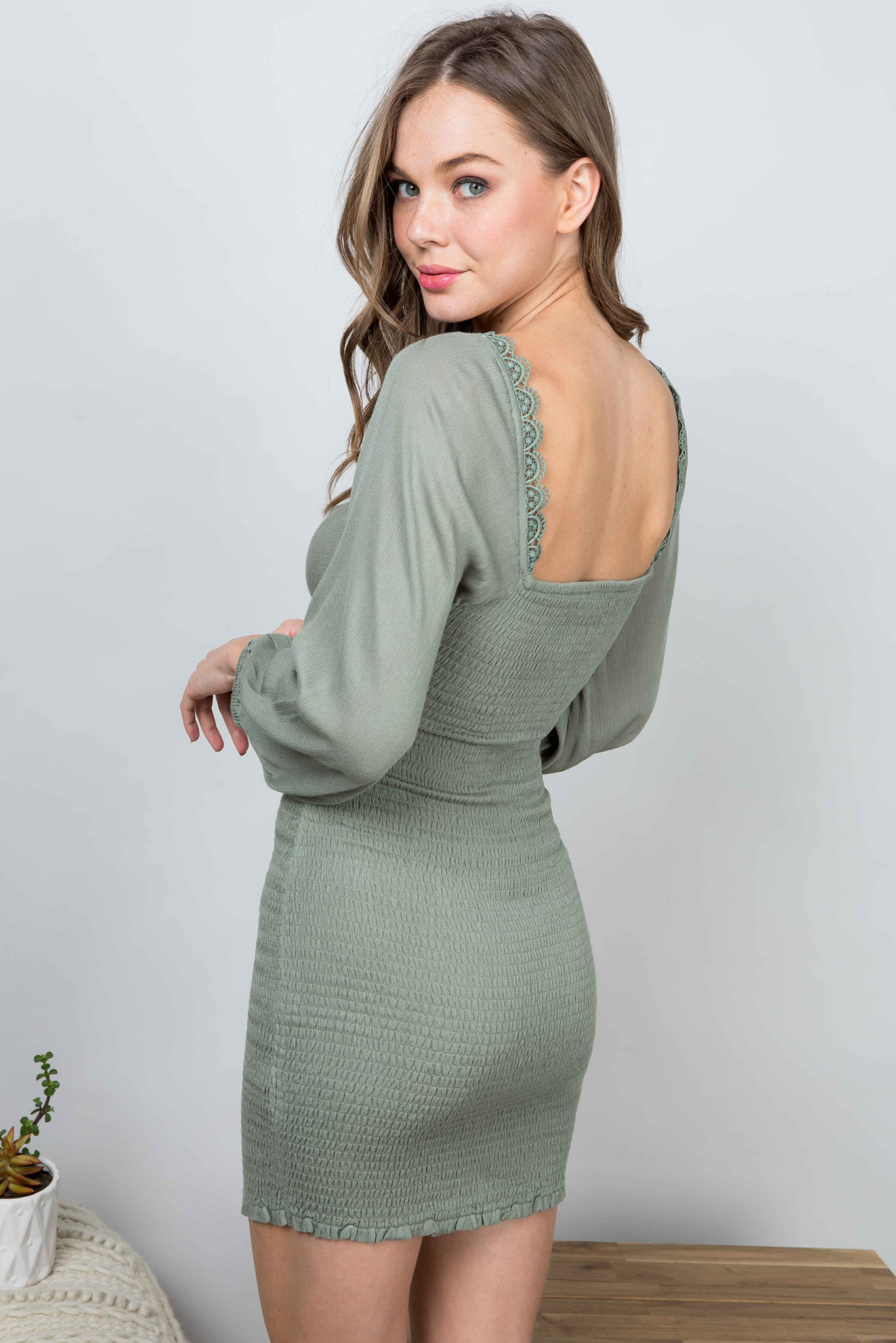 ILLA ILLA Seagrass Fitted Long Sleeve Dress