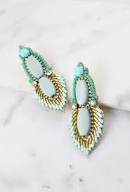 Caroline Hill Designs Aqua Carlson Bead & Embellished Earrings