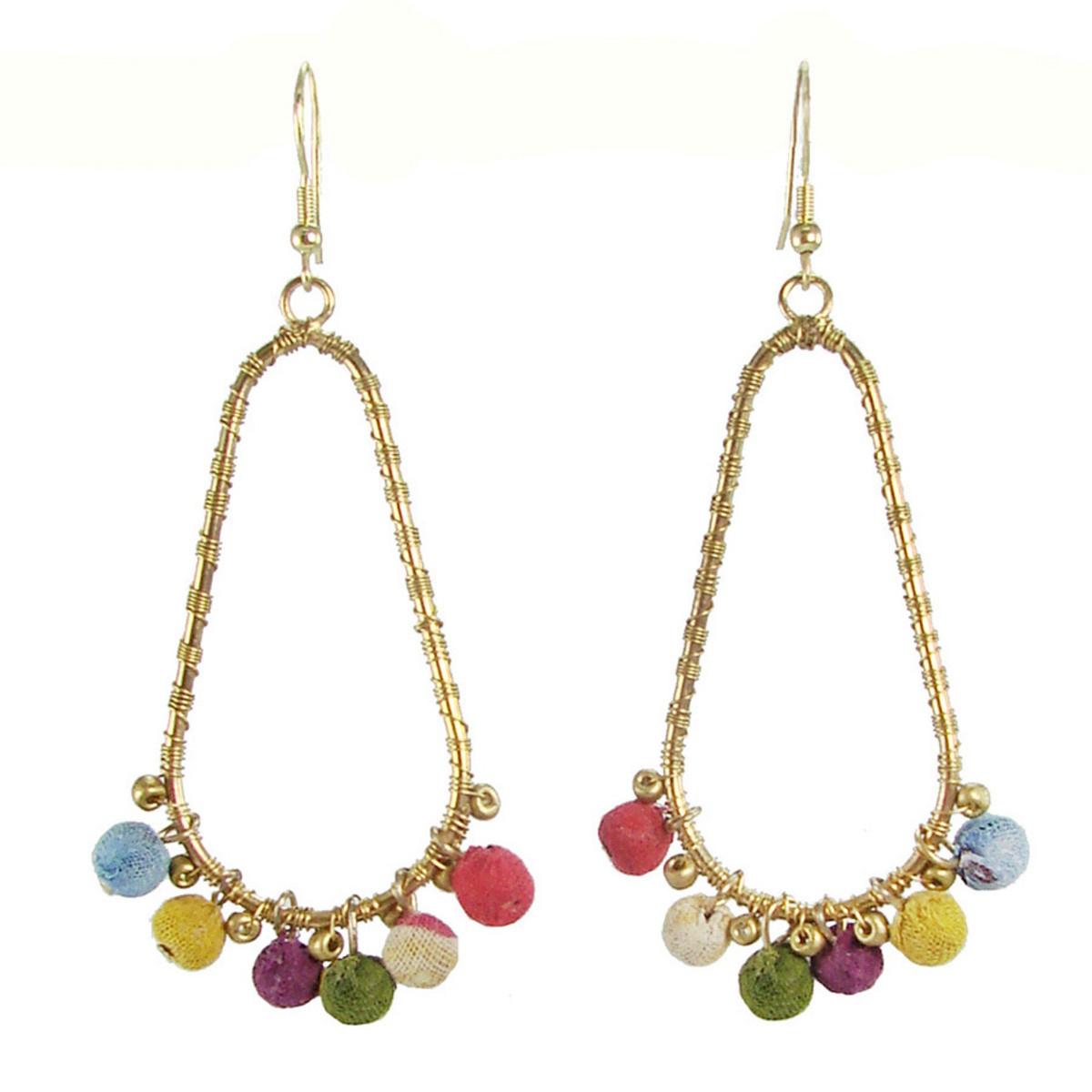 World Finds Kantha Beaded Fan Earrings