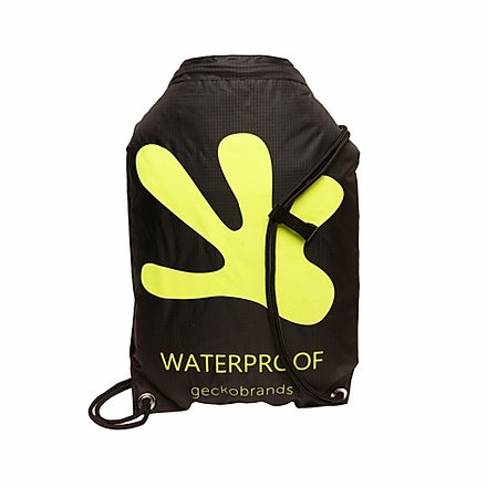 Geckobrands Black/Green Waterproof Drawstring Backpack
