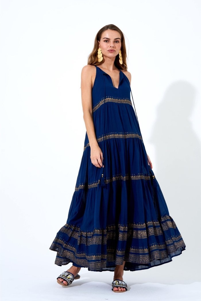 Oliphant Navy & Gold Tata Long Tiered Tassel Dress