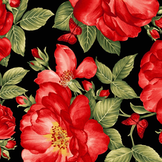 Timeless Treasures Large Red Roses and Butterflies- Fleur- C7970- Black