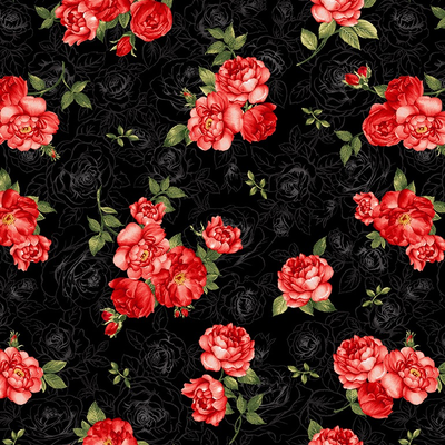 Timeless Treasures Small Red Rose Bouquets- Fleur- C7974- Black