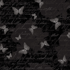 Timeless Treasures Antique Butterfly Text- Butterfly- C7975- Black