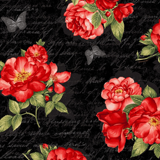 Timeless Treasures Red Roses on Ancient Text- Fleur- C7972- Black