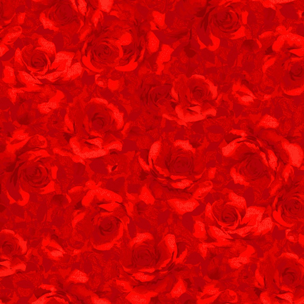 Timeless Treasures Packed Shadow Roses- Fleur- C7979- Red