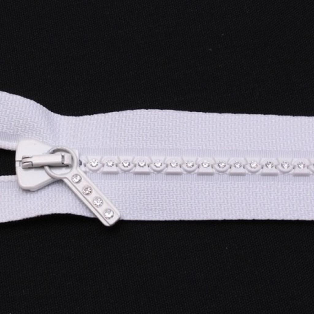 "22"" White Separating Crystal Zipper"