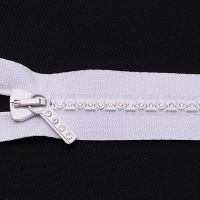 "22"" Zipper- White Separating Crystal"