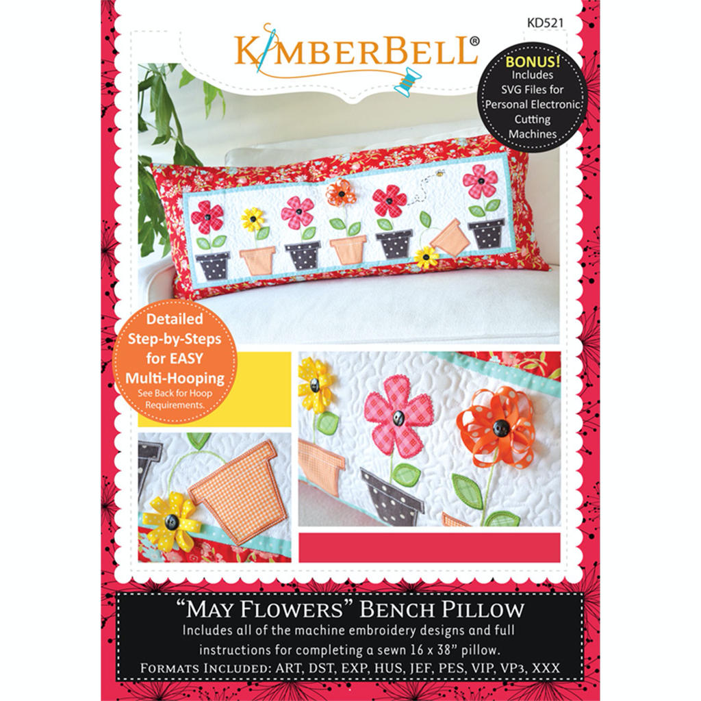 Kimberbell May Flowers Bench Pillow CD