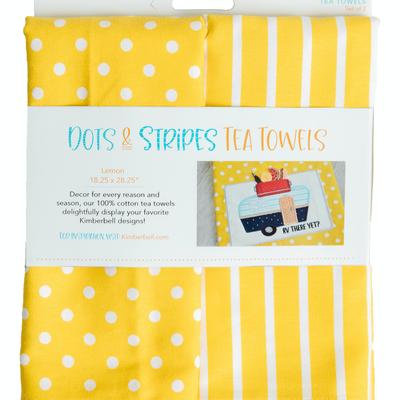 Kimberbell Tea Towel 2 ct.- Dot & Stripe Lemon