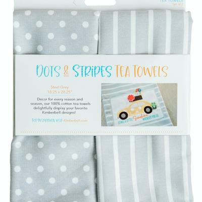 Kimberbell Tea Towel 2 ct.- Dot & Stripe Steel Gray