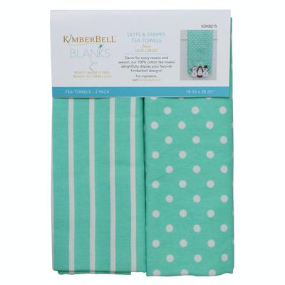 Kimberbell Tea Towel 2ct- Dot & Stripe Aqua