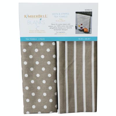Kimberbell Tea Towel 2ct- Dot & Stripe Grey