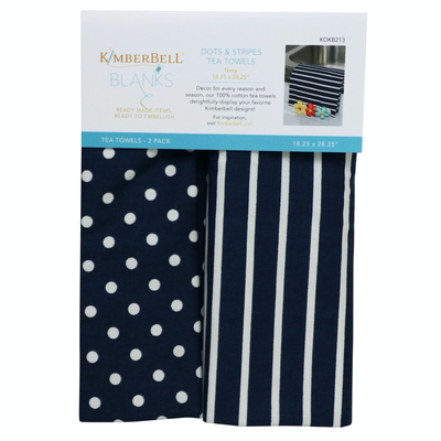 Kimberbell Tea Towel 2ct- Dot & Stripe Navy