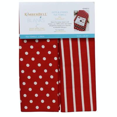 Kimberbell Tea Towel 2ct- Dot & Stripe Red