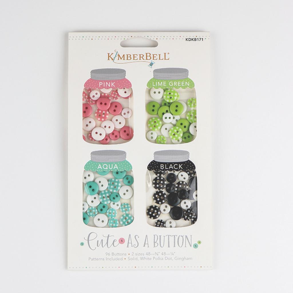 Kimberbell Cute As A Button- Pink, LIme Green, Aqua, Black