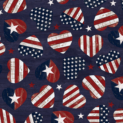 Timeless Treasures American Flag Hearts- USA-C7046 Navy
