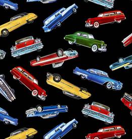 Timeless Treasures Tossed Classic Cars- CAR-C7983 Black