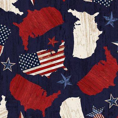 Timeless Treasures United States Of America- USA-C7045  Navy