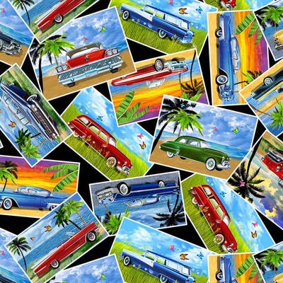 Timeless Treasures Classic Car Postcards- CAR-C7982 Multi