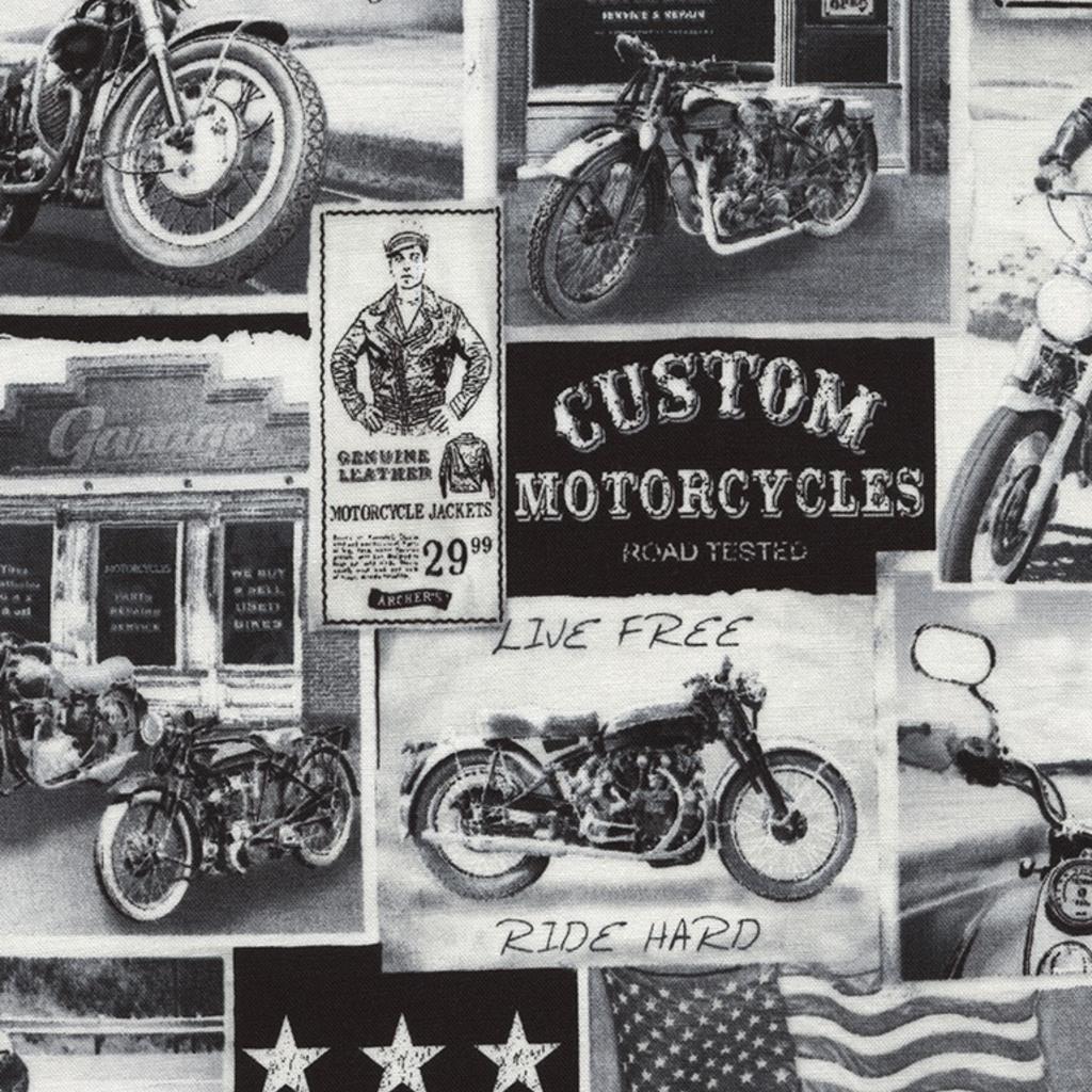 Timeless Treasures Vintage Motercycle News- ERA-C3646 News