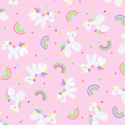 Timeless Treasures Balloons Unicorns & Rainbows- FUN-C8052 Pink