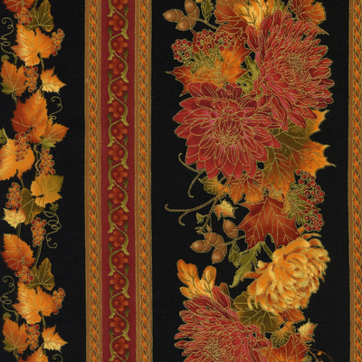 Timeless Treasures Autumn Border Stripe-Harvest-CM1188-Black