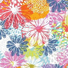 In The Beginning Fabrics Doodle Blossoms- IBFDOB2DB-1