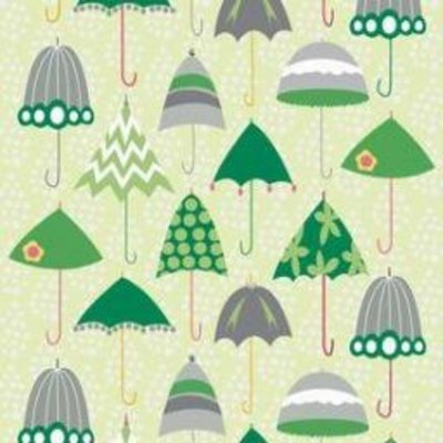 Riley Blake Rainy Days and Mondays- C4010 Green Retro Umbrellas