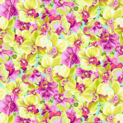 Clothworks Orchid Fancy Packed Floral- Y2947-9 Yellow