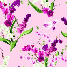Clothworks Orchid Fancy  Bouquets- Y2946-121 Orchid