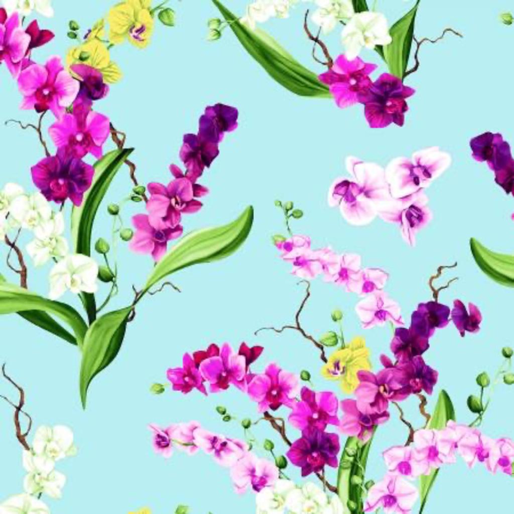 Clothworks Orchid Fancy Bouquets- Y2946-32 Light Aqua