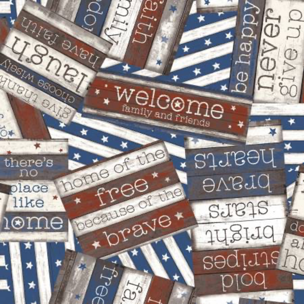 Clothworks Home of the Free Sayings- 2922-55 Multi