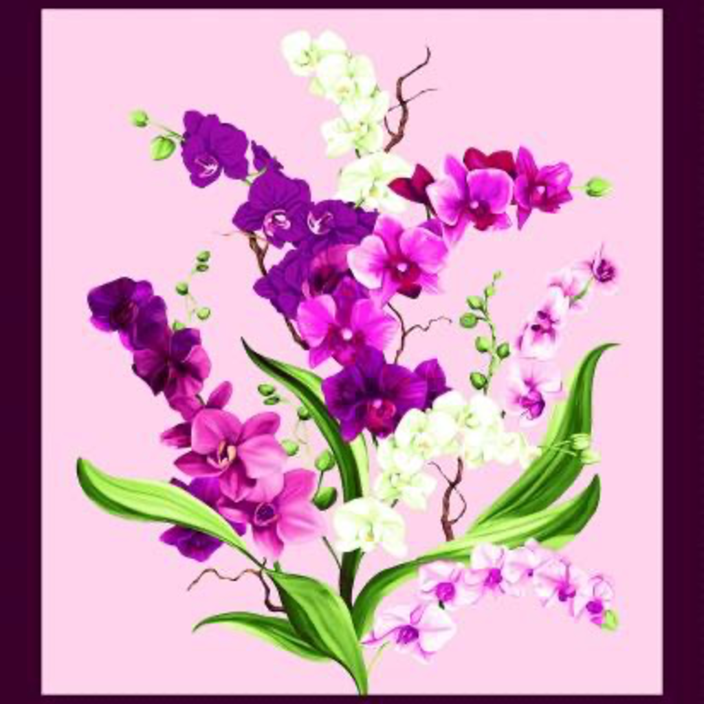 Clothworks Orchid Fancy Panel- Y2945-121 Orchid