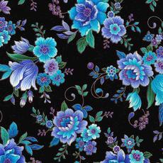 Timeless Treasures Majestic Flowers- REGENCY-CM7311 Black