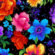 Timeless Treasures Night Bloom Large Florals- FLEUR-C7808 Black