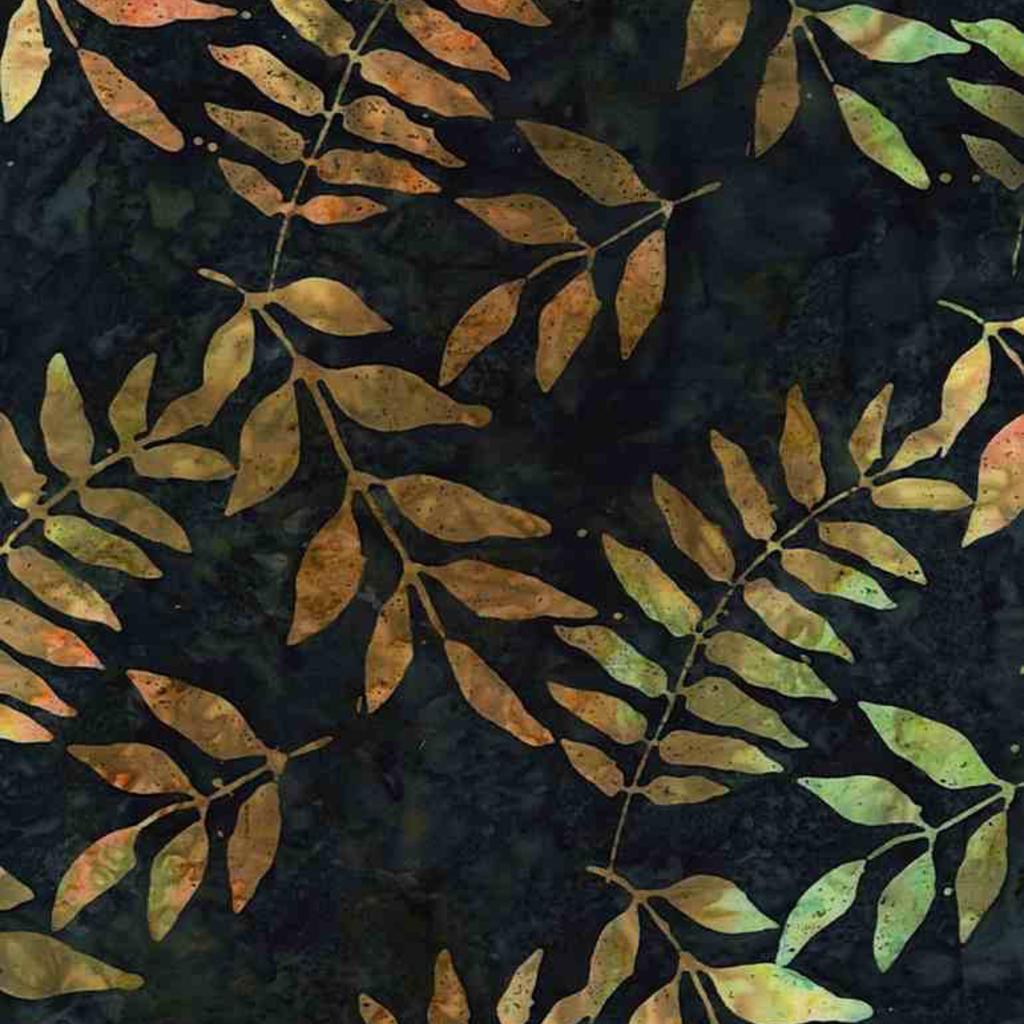 Timeless Treasures Black Walnut Tree Leaves- TONGA-B7777 Ink