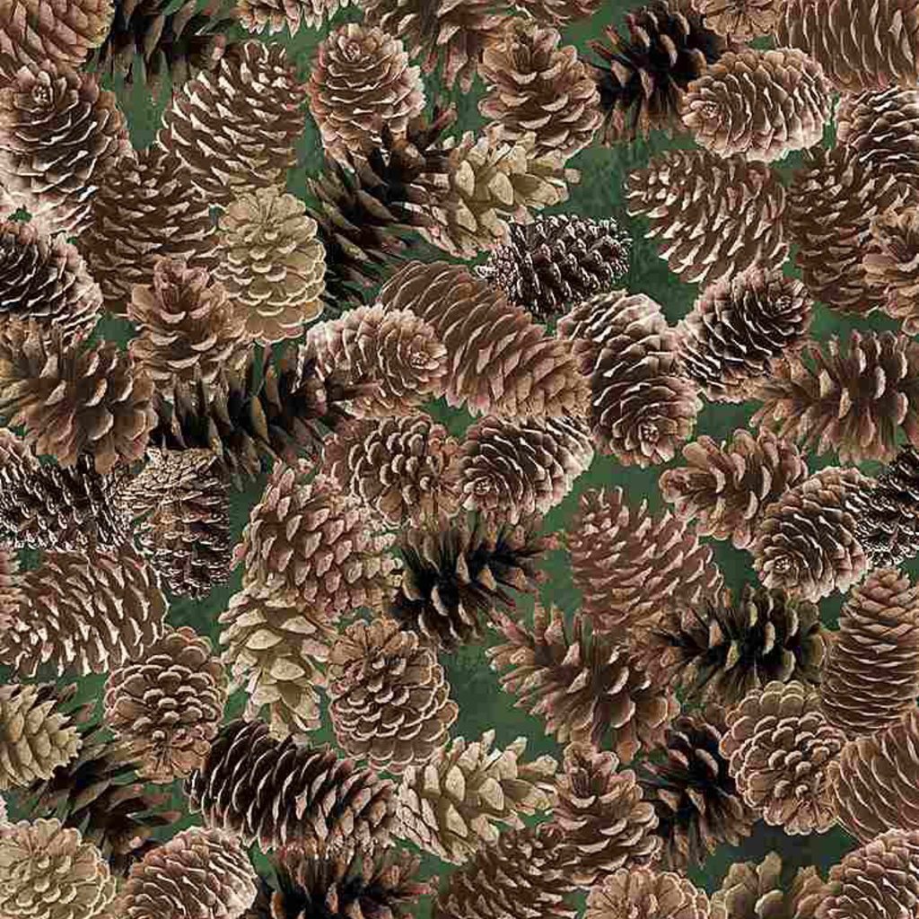 Timeless Treasures Packed Pine Cones- NATURE-CF7466 Brown