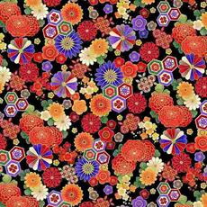 Timeless Treasures Koko- En Florals Geo- KOKO-CM7875 Black