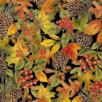 Timeless Treasures Packed Harvest Foliage- HARVEST-CM7659 Multi