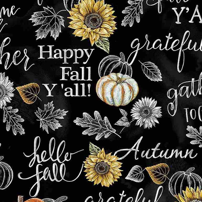 Timeless Treasures Happy Fall Y'all Chalk Words- HARVEST-C7796 Black