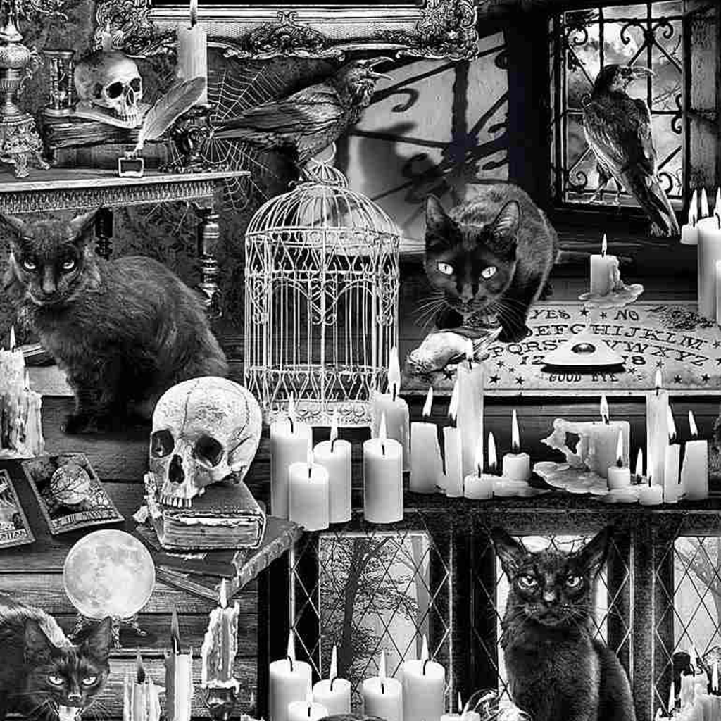 Timeless Treasures Black Cats In Haunted Houses- WICKED-C7882 Black