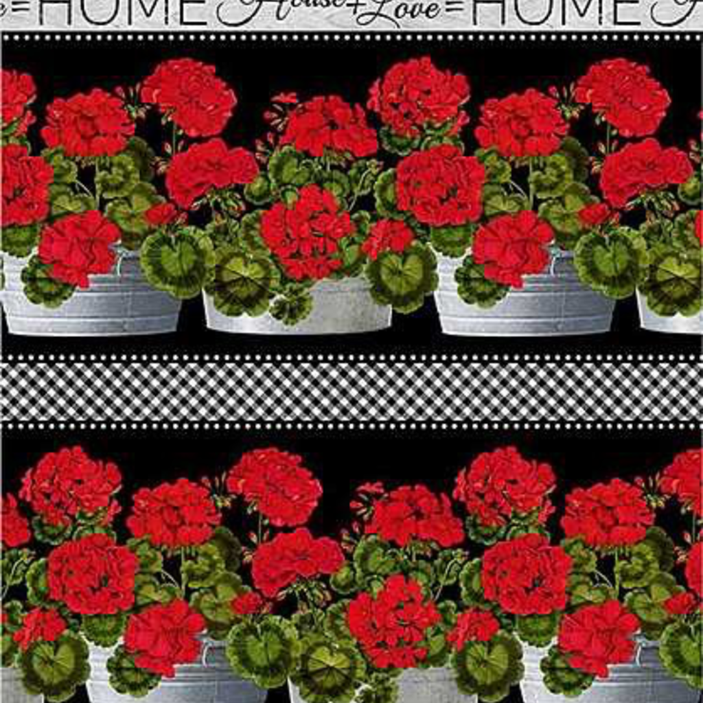 Timeless Treasures Geranium Main- PORCH-C6378 Black