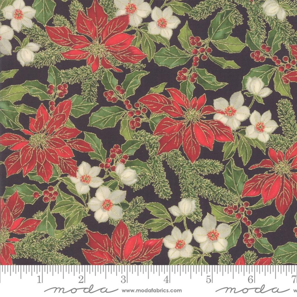Moda Poinsettias Pine Ebony- 33511 14M Black