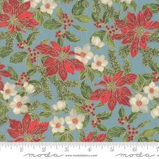 Moda Poinsettias Pine Frost- 33511 15M Aqua