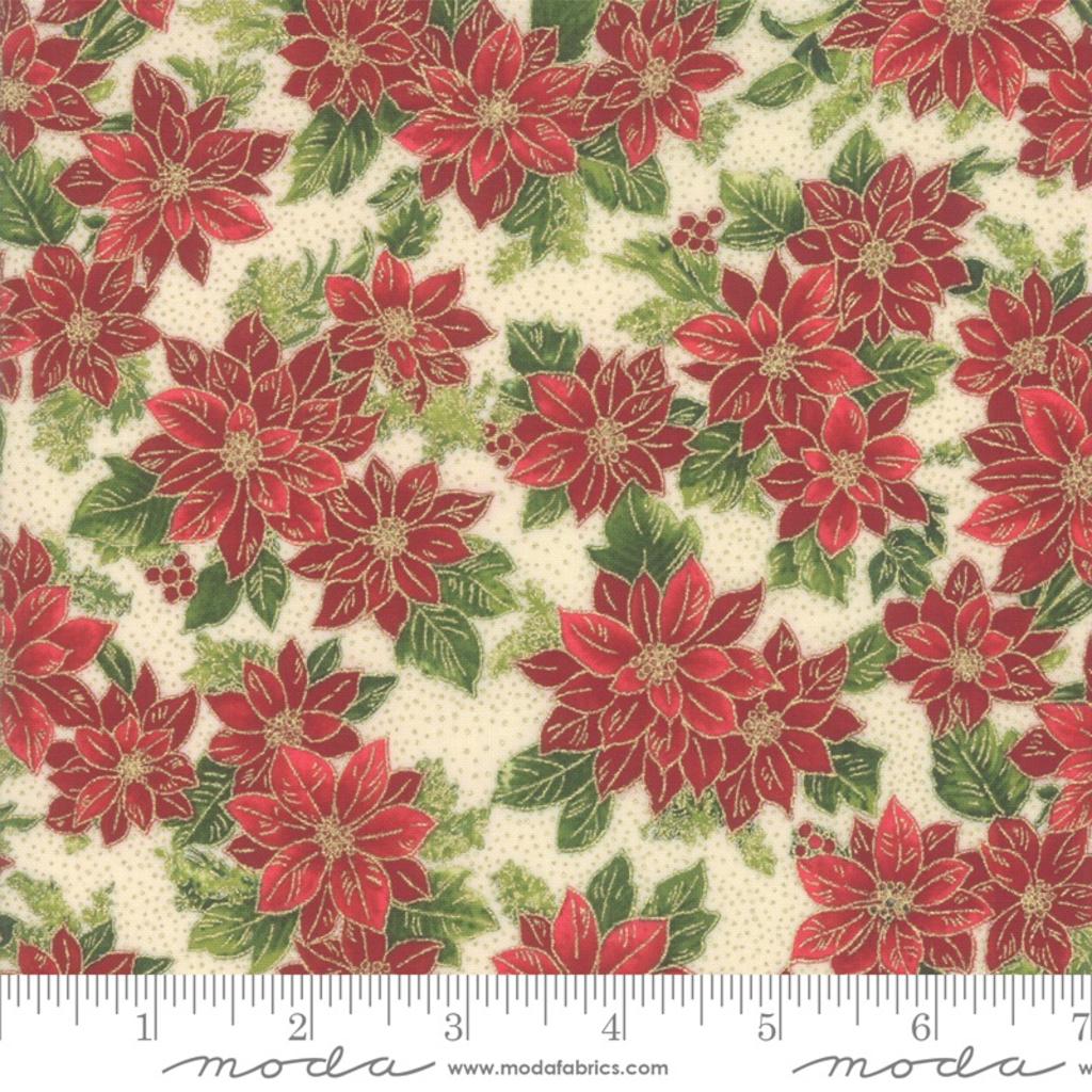 Moda Poinsettias Pine Cream- 33513 11M  Natural