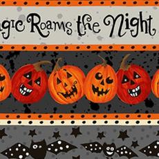 Clothworks Midnight Glow Pumpkin Stripe- Y2966-6 Gray