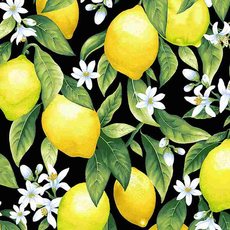 Timeless Treasures Lemons And Blossoms- FRUIT-C8015 Black
